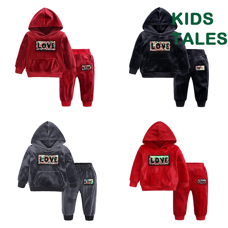 12M-8T Sweatpants Outfits Set KIDS TALES Boys Girls 2Pcs Velvet Hooded Tracksuit Top