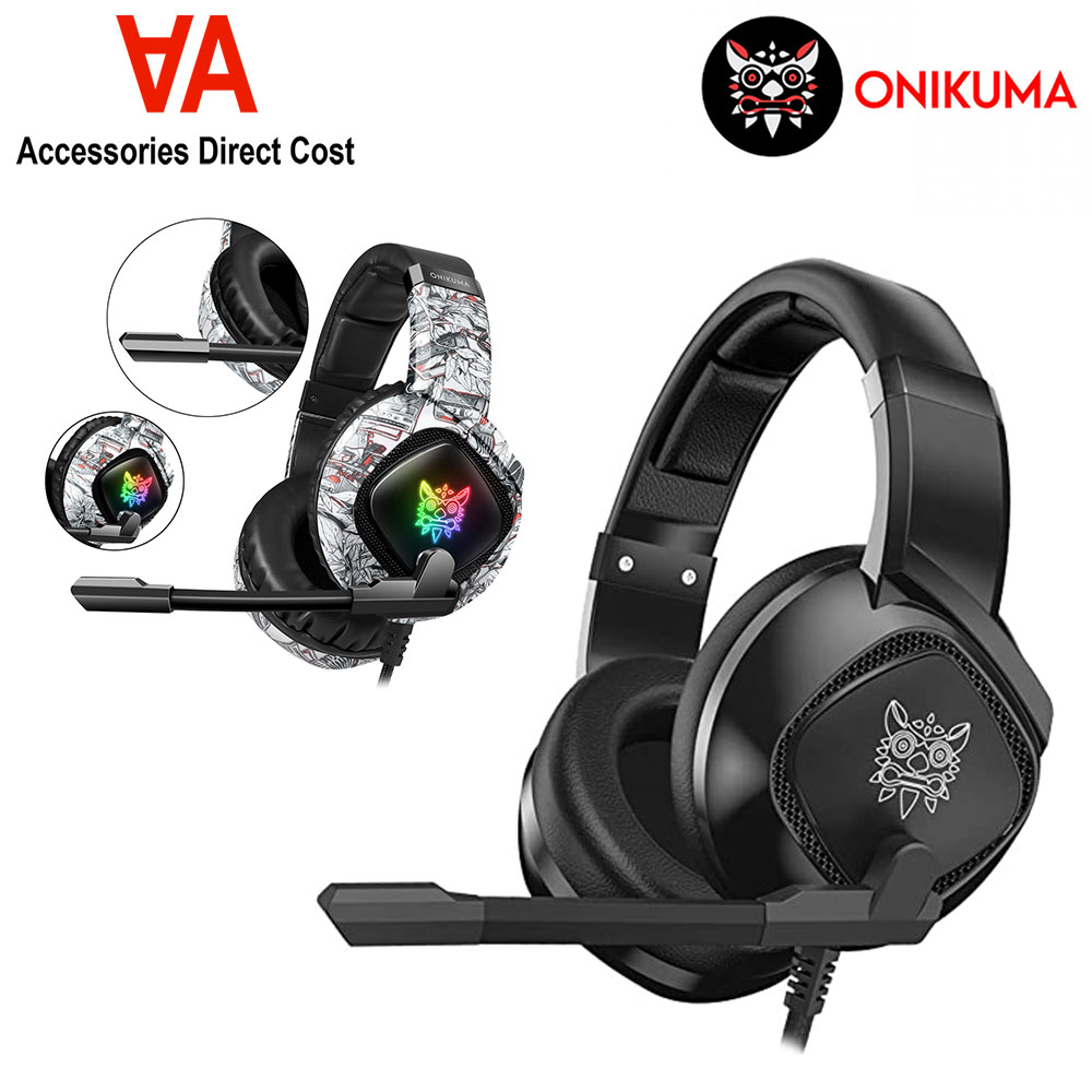 ONIKUMA K19 RGB Full Oval Ear Cover Cushions Heavy Bass Stereo Ultimate Gaming Headphones with Microphone Mobile Phone