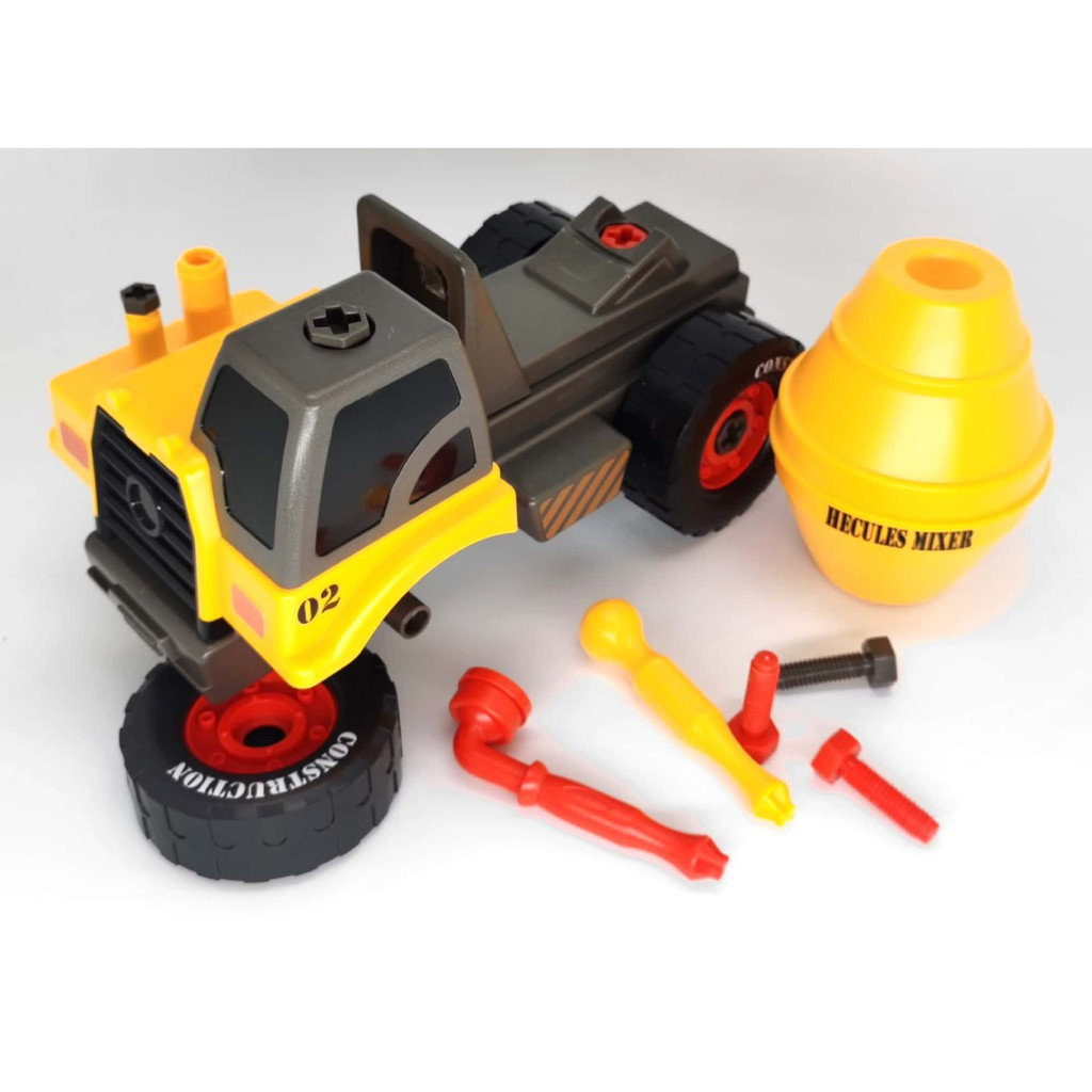 ASSEMBLY DIY CONSTRUCTION TRUCK ( HECULES MIXER,CRANE,EXCAVATOR ) EDUCATIONAL LEARNING TOYS , SCREWING TOOL ,SCREW NUT