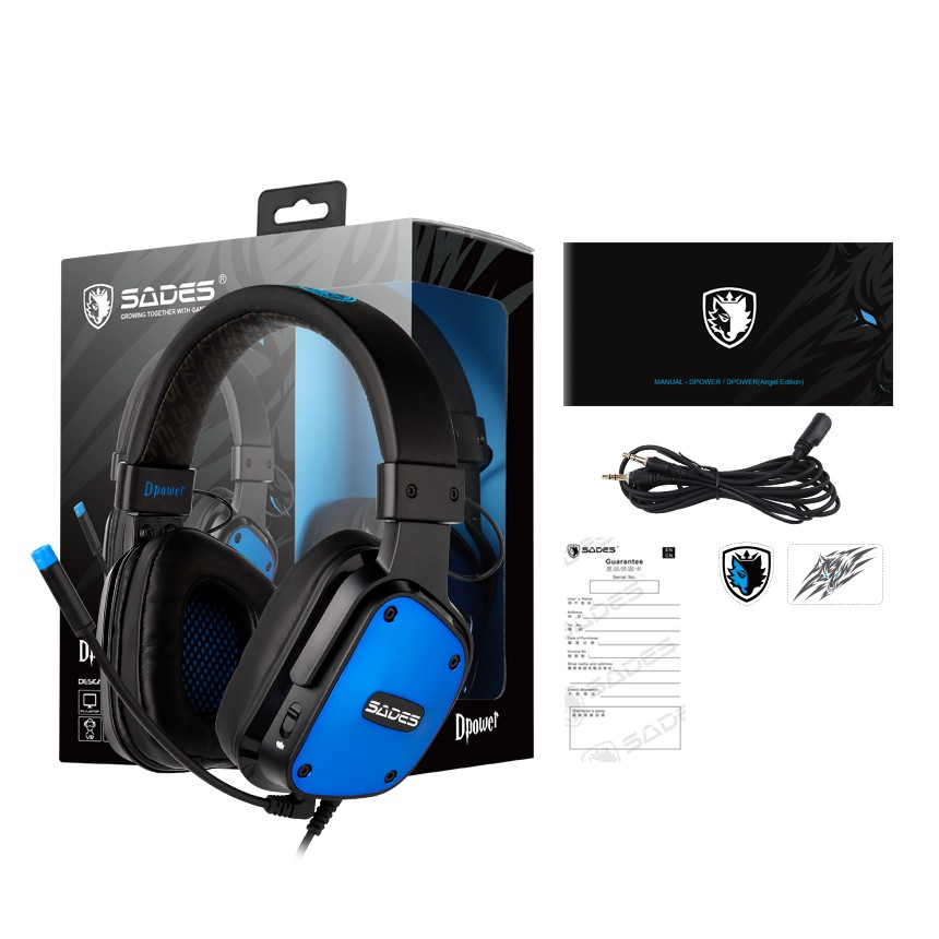 {SD-DPOWER-BLUE} Sades Dpower Video Gaming Headset - PS4/ PS5,XBOX,NS,PC,Mobile (Blue)