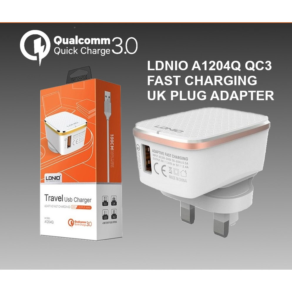 LDNIO Qualcomm 3.0 Fast Charging A1204Q Travel USB Charger uk plug with cable (18W)