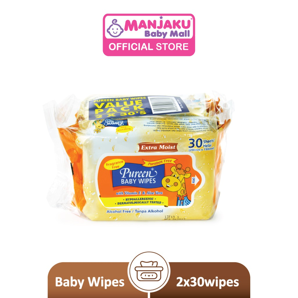Pureen Baby Wipes - Fragrance Free (2 x 30's)