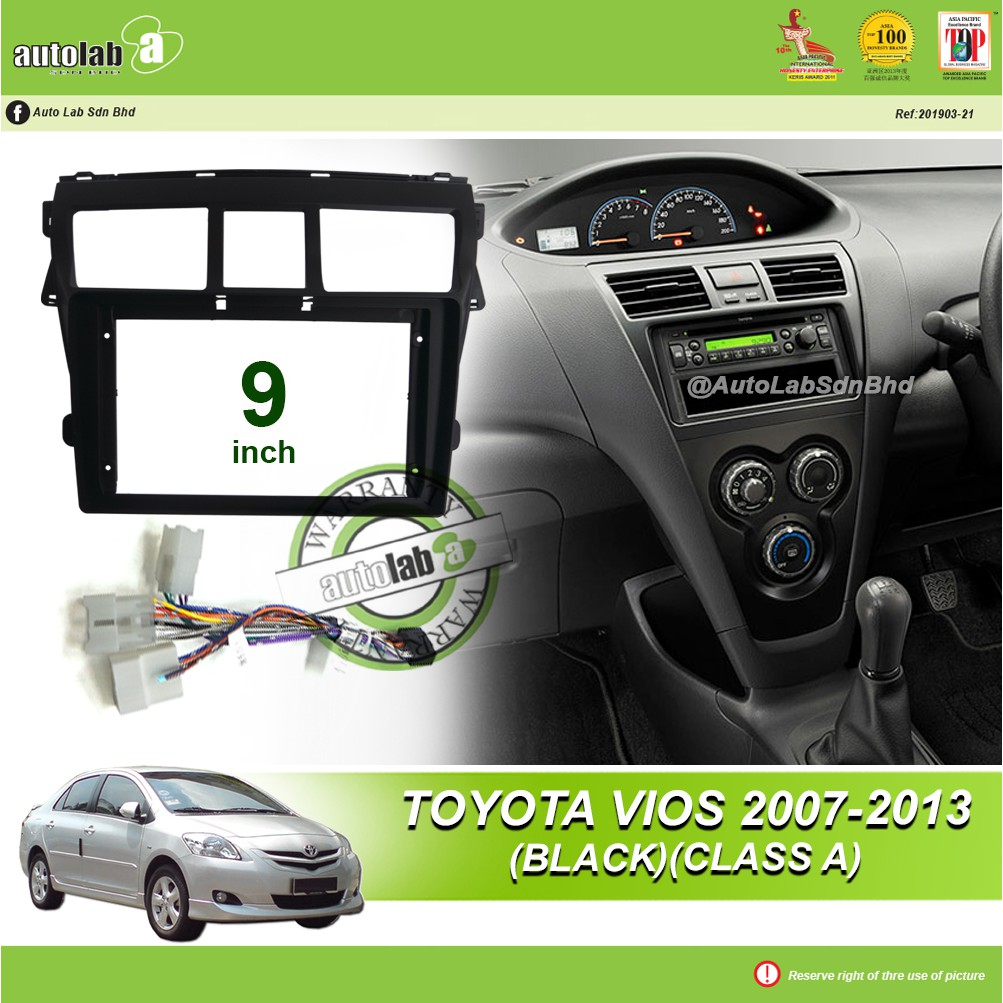 """Android Player Casing 9"""" Toyota Vios 2007-2013 (Black) (Class A) with Toyota 3 Head Socket"""