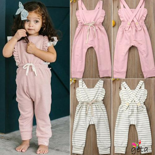 80cac336809a3 ♀Newborn Kid Baby Girl Ruffle Pants Overalls Cotton Outfits Summer ...