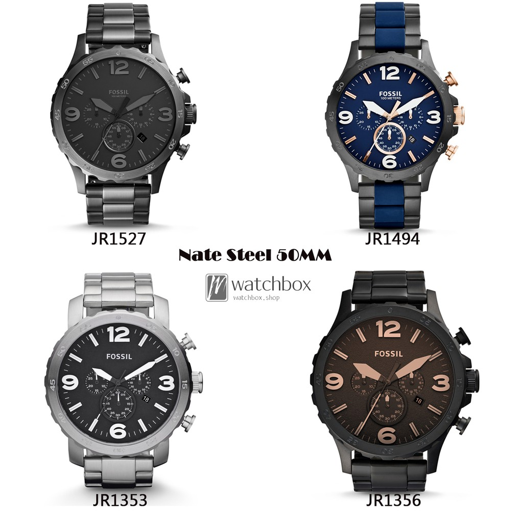 Original Fossil Watch Nate Chronograph Stainless Steel Men Jr1356 50mm Shopee Malaysia
