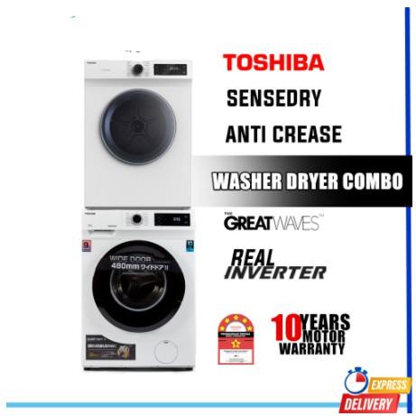 [FREE INSTALLATION] Toshiba Front Load Inverter Washer (7.5kg) TW-BH85S2M +  (7kg) TD-H80SEM Sense Dry Tumble Dryer