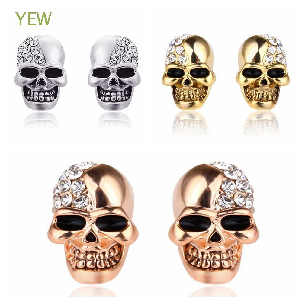 Accessories Halloween Punk Skull Head Ear Stud Rhinestones Skeleton Earrings