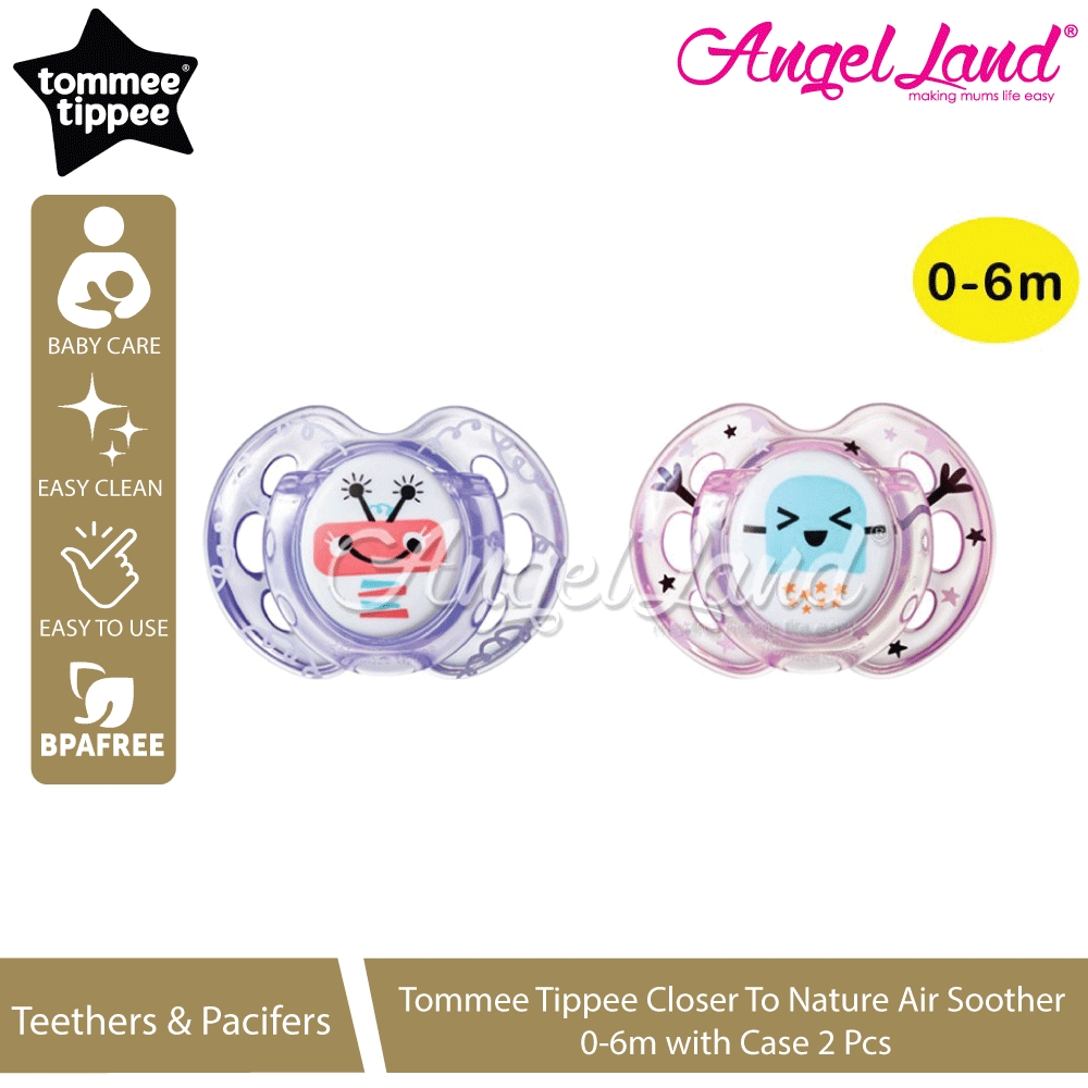 Tommee Tippee Closer to Nature Baby Newborn Child Kid Fun Air Soother 0-6m 2Pk