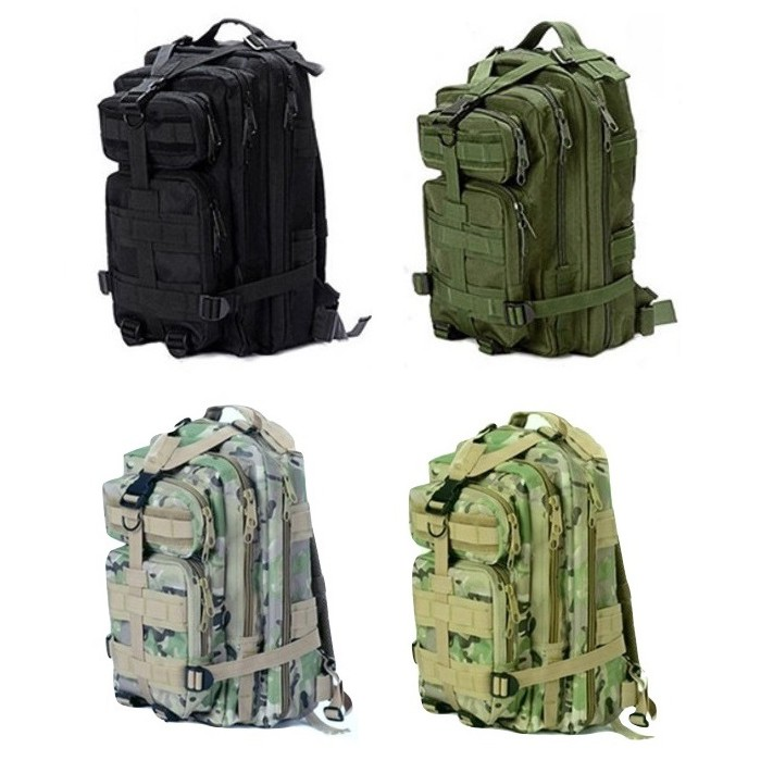 Outdoor Military-Style Hiking Backpack (30L) - Black/Green/Tactical Green/Grey