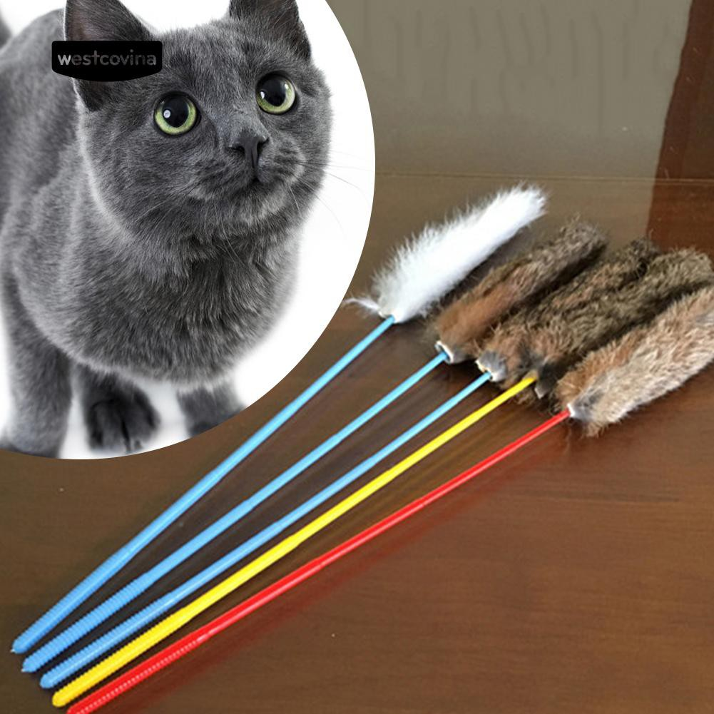 Fun Kitten Toy Cat Plush Wand Teaser Rod Dog Play Interactive Toy