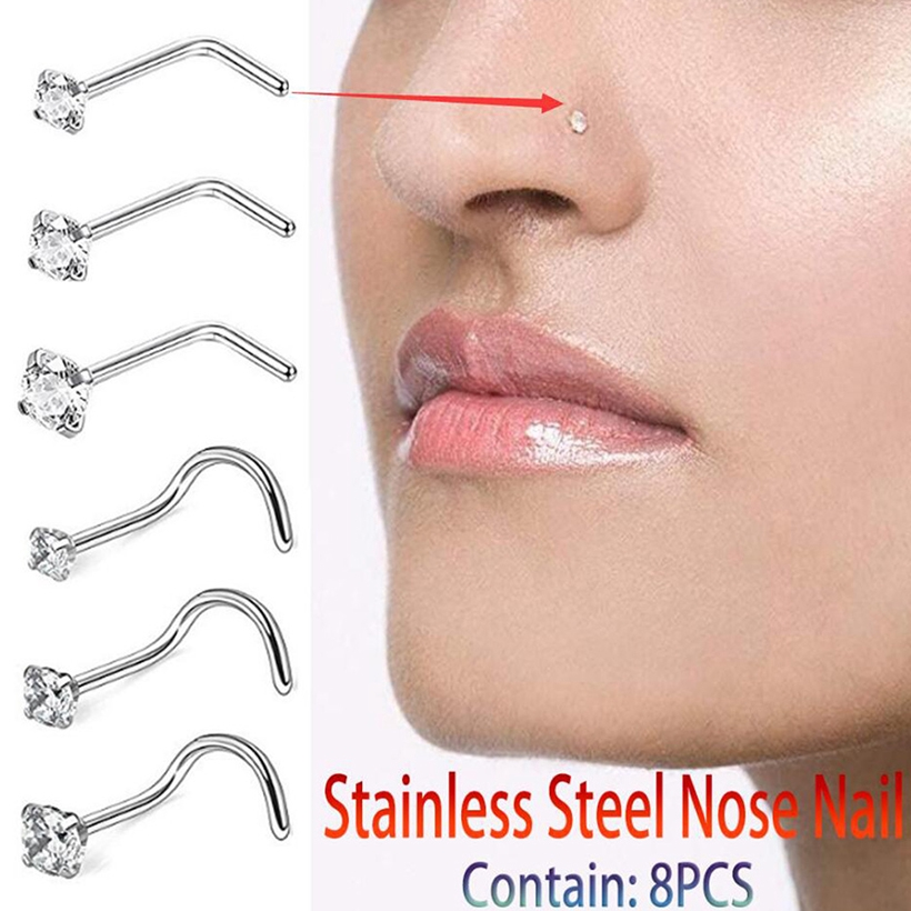 8pc Fashion Stainless Steel Curved Nose Ring Diamond Nose Ring