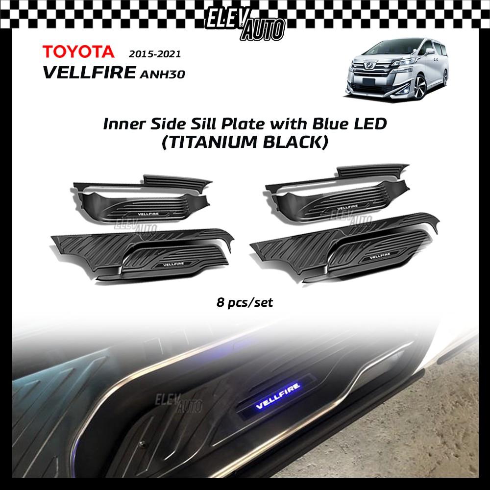 TITANIUM BLACK Side Sill Plate with Blue LED Toyota Vellfire AH30 2015-2021