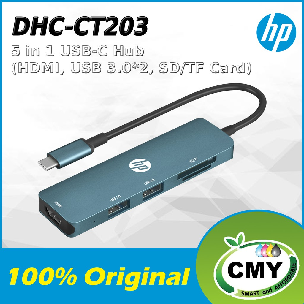 HP DHC-CT203 5 in 1 USB C TO HDMI USB 3.0 *2 SD + TF CARD READER DHC CT203