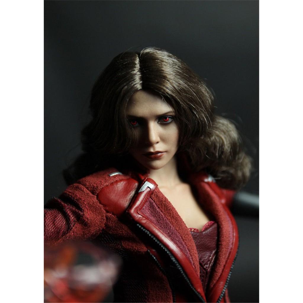 1:6 Accessory Elizabeth Olsen Scarlet Witch Female Head Sculpt Red Eyes Ver.