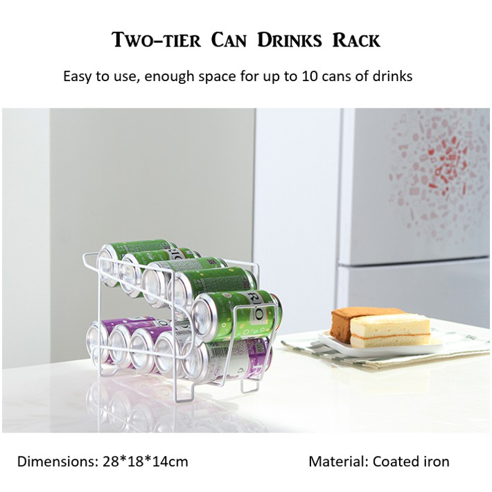 Double layer canned drinks rolling rack