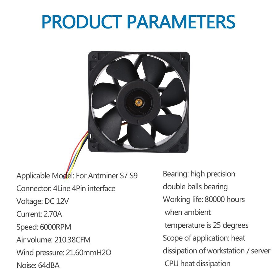 💙6000RPM DC12V 2 7A Miner Cooling Fan 4-Pin Cooler For Antminer Bitmain S7  S9