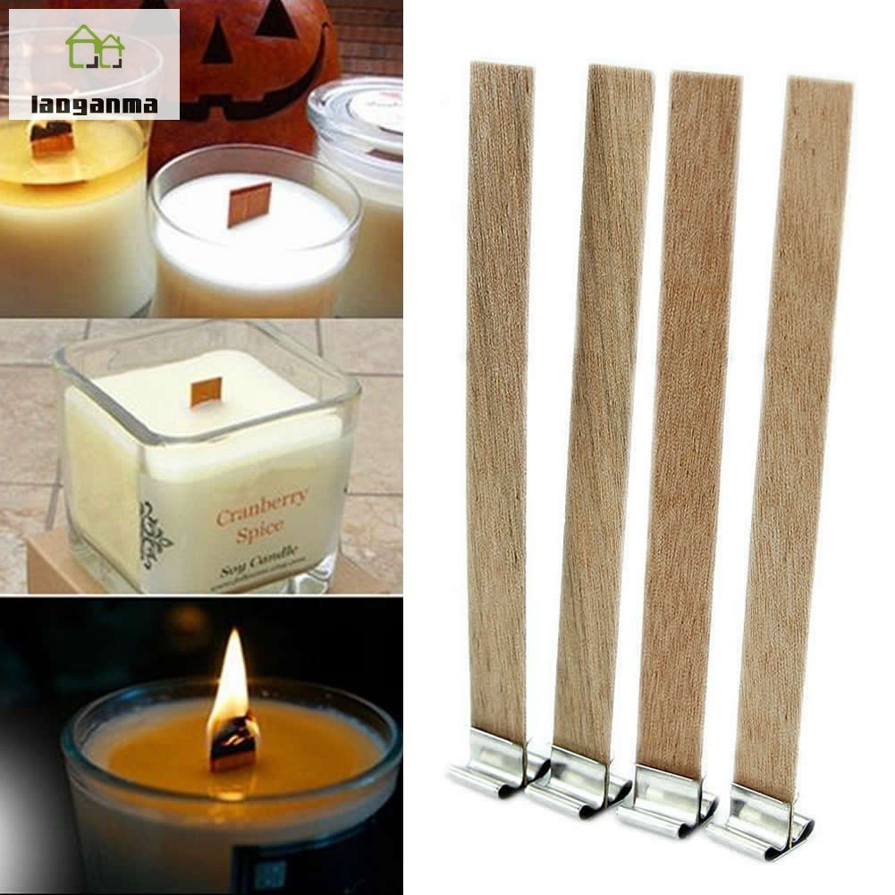 50pcs Candle Wood Wick Sustainer Tab Candle Base Making Supplies DIY Handmade