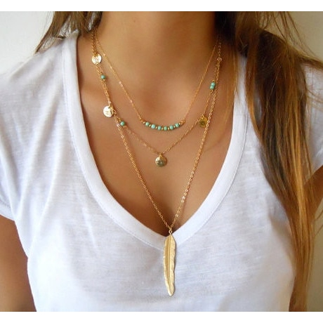63d62c15cbd86 Women Fashion Multilayer Coin Tassels Beads Choker Feather Pendants  Necklaces