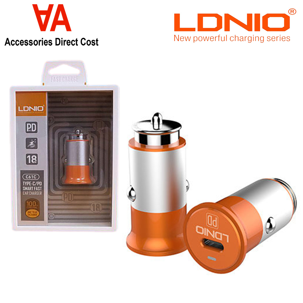 LDNIO C61C SINGLE 18W TYPE-C SMART CHARGER PORT INDICATOR LIGHT CAR CHARGER