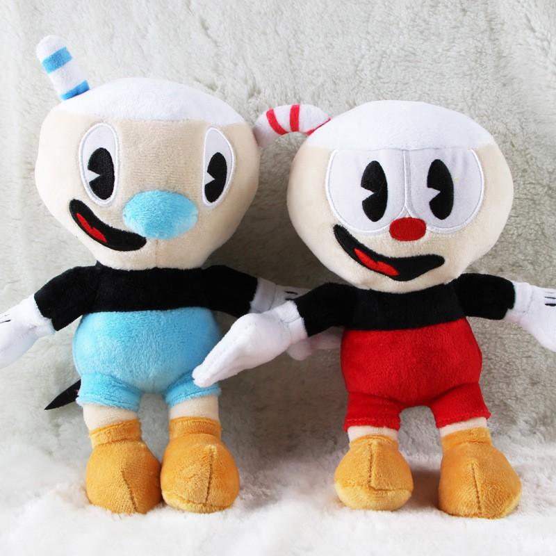 "10/"" Cuphead Game Plush Toy Cuphead /& Mugman Mecup And Brocup Figure Doll Set"