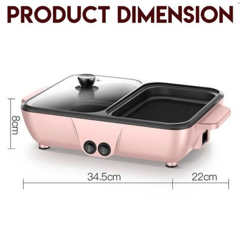 2 IN 1 ELECTRIC BBQ GRILL PAN TEPPANYAKI HOT POT STEAMBOAT COOKER 2 TEMPERATURE CONTROL STEAMBOAT