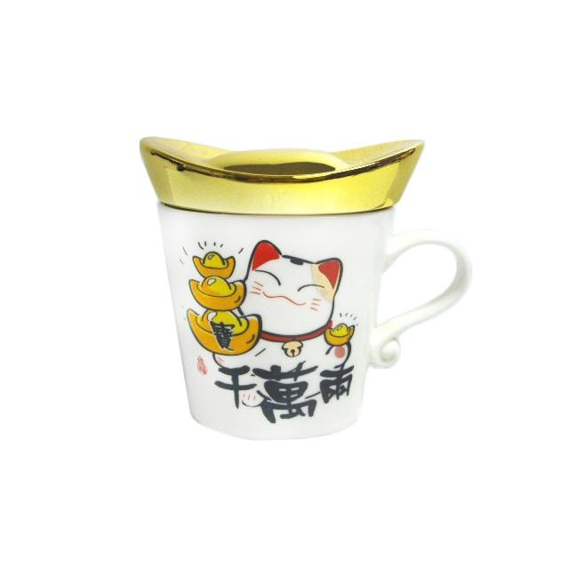 Maneki Neko Mug With Gold Coin Lid Lucky Cat Fortune Home Decoration Shopee Malaysia