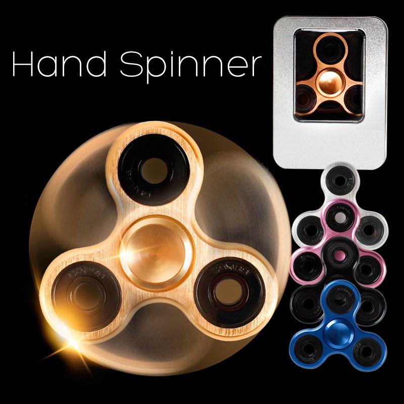 2LED Flash Light Aluminum Alloy Hand Spinner Fidget Desk ADHD Focus Rose gold