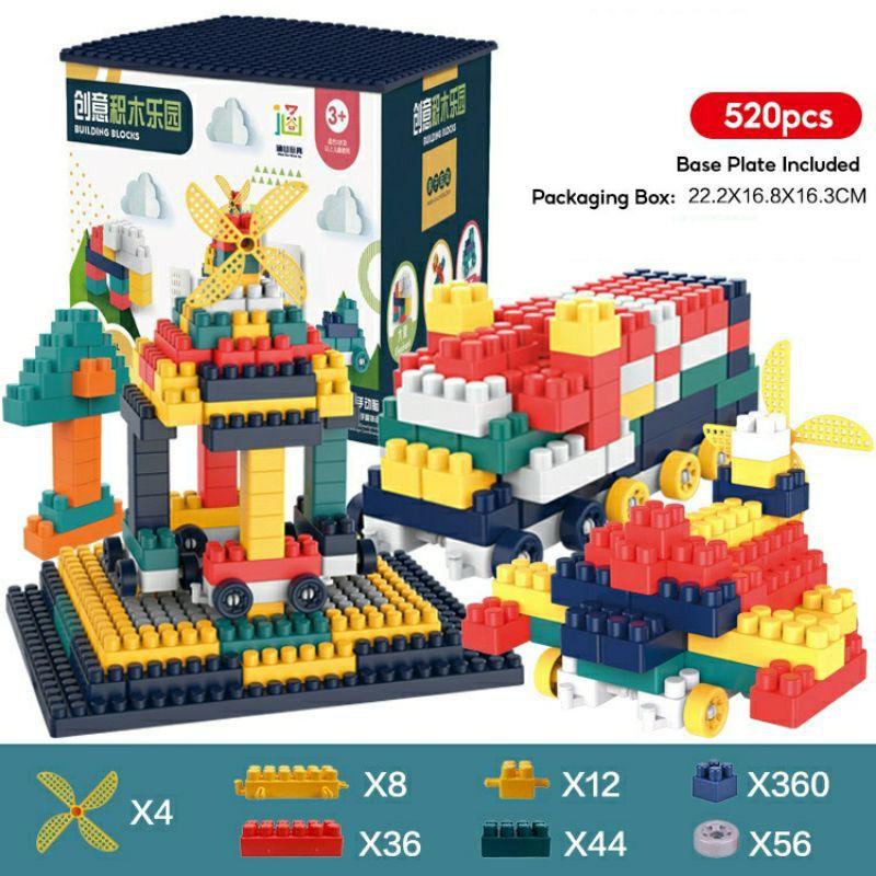 Creative Building Blocks Brick Fun 260pcs / 360pcs / 520pcs Set With Base Plate Lego Block Budak Mainan Budak >NHSTORE