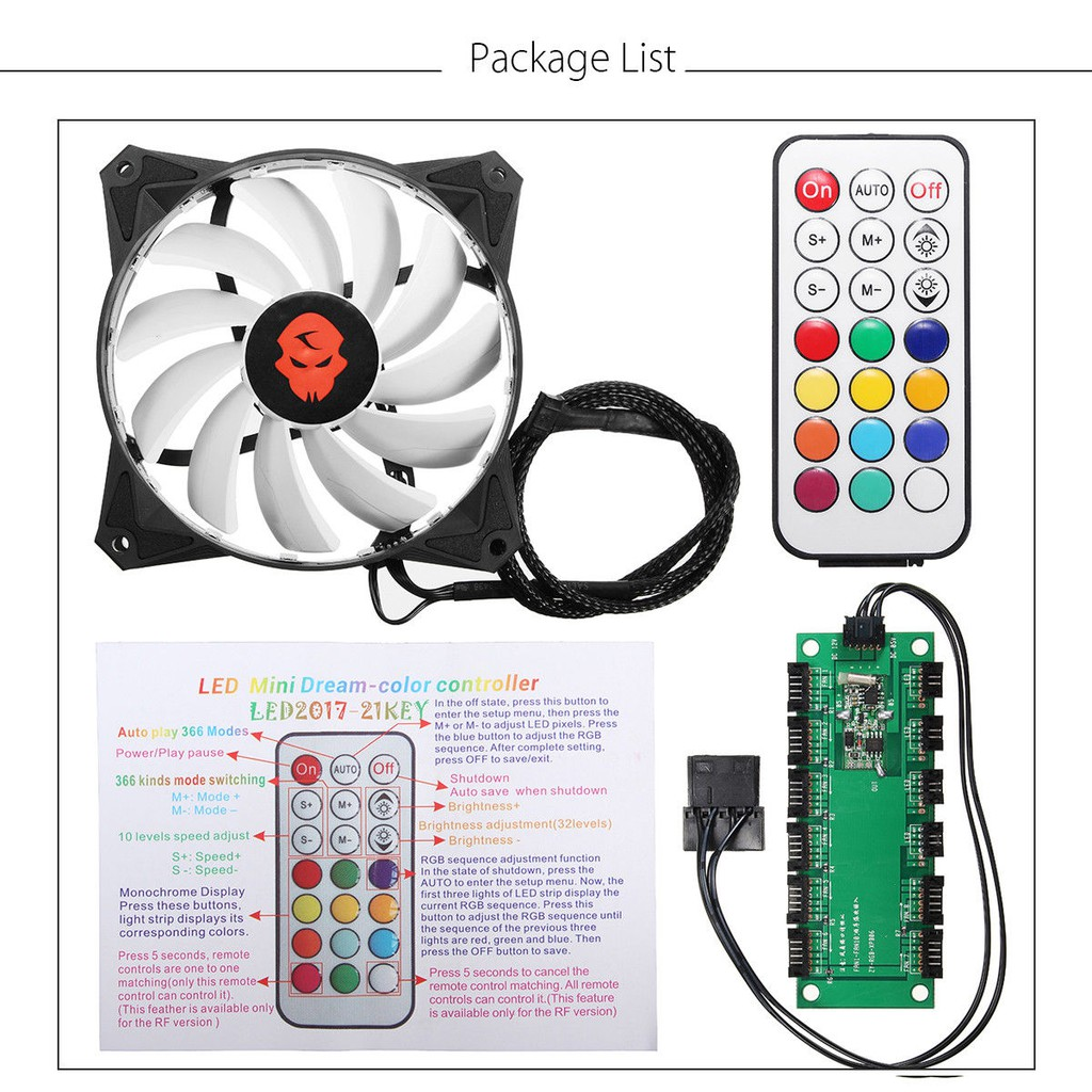 New RGB LED Cooling Fan 120mm 12V With Remote Control For Computer Case PC CPU