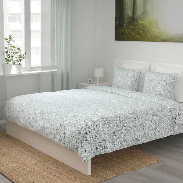 Ikea Tradkrassula Quilt Cover And 2 Pillow Cases Bed White Blue Cadar Sarung Bantal Single Queen King Putih Shopee Malaysia