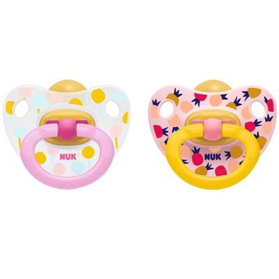 Nuk: Happy Kids Latex Soothers Plus 0-6M (Pacifiers) - 2pcs