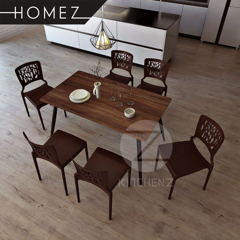 Homez Solid Board Dining Table HMZ-DT-M01(14080) + 6 Designer Dining Chair IZ-701 - Brown