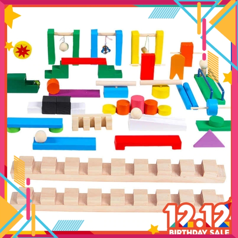 Domino Machine Marble Run Set/Trap for Early Intelligence Game Building Blocks Bricks Educational Toys Dominos Gifts