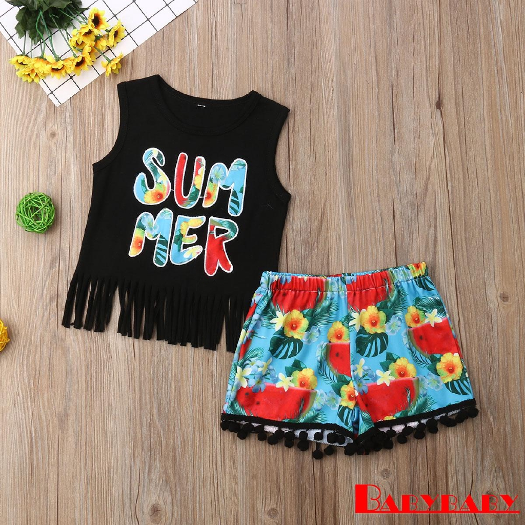 2Pcs//Set Fashion Toddler Kids Baby Girl Boy Summer Outfits Sleeveless Tassel T-Shirt Top+Floral Shorts Clothes Set 6M-5T