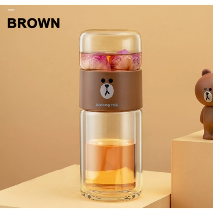 ( EXCLUSIVE) Joyoung LINE FRIENDS Tea & Water Separating Double Layer Glass Portable Cup