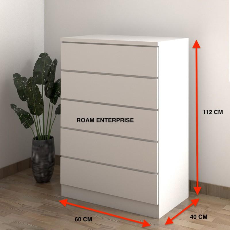 ROAM AISHA 5 Drawer Chest - White Color Roam Enterprise Ready stock perabot 5 layer drawer 5 laci wardrobe
