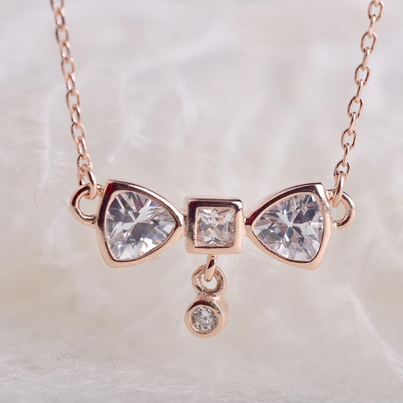 e882cd9b43c Silver jewelry S925 pure silver zircon foam clavicle chain Bow Necklace  woman | Shopee Malaysia