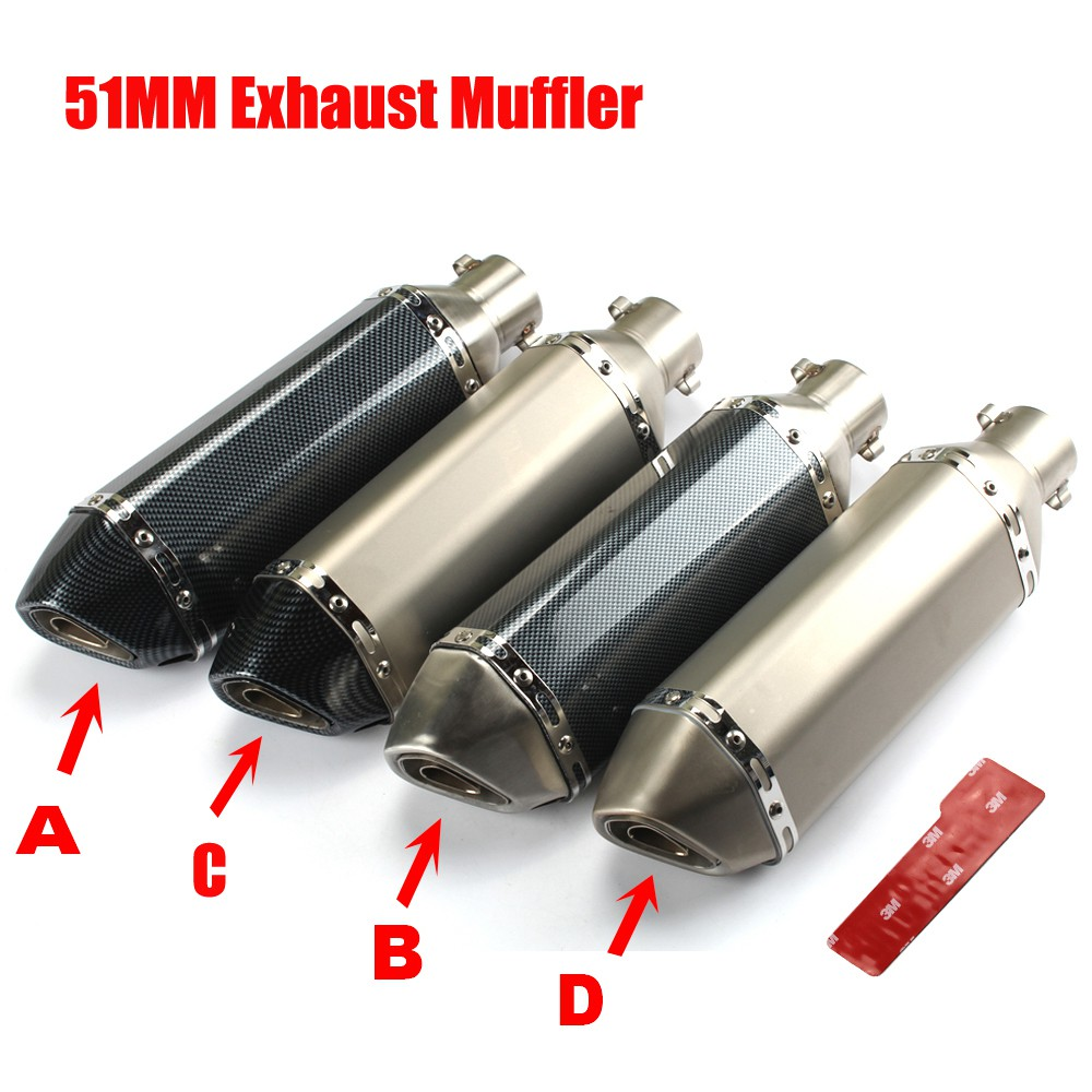 38-51mm Universal Short Motorcycle ATV Exhaust Muffler Pipe Stainless Silencer