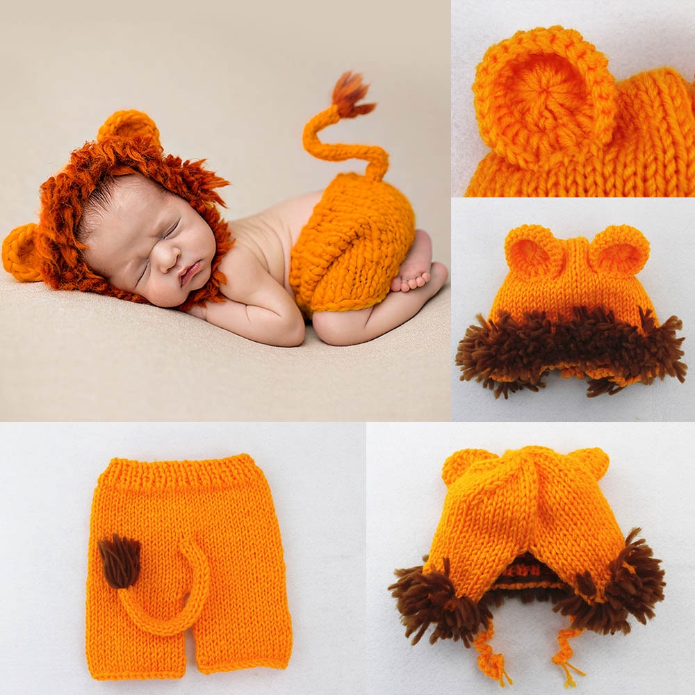 Cute Lion Photography Props Outfits Newborn Baby Customes Cosplay Animals Hats