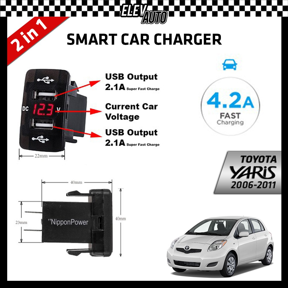 DUAL USB Built-In Smart Car Charger with Voltage Display Toyota Yaris 2006-2011