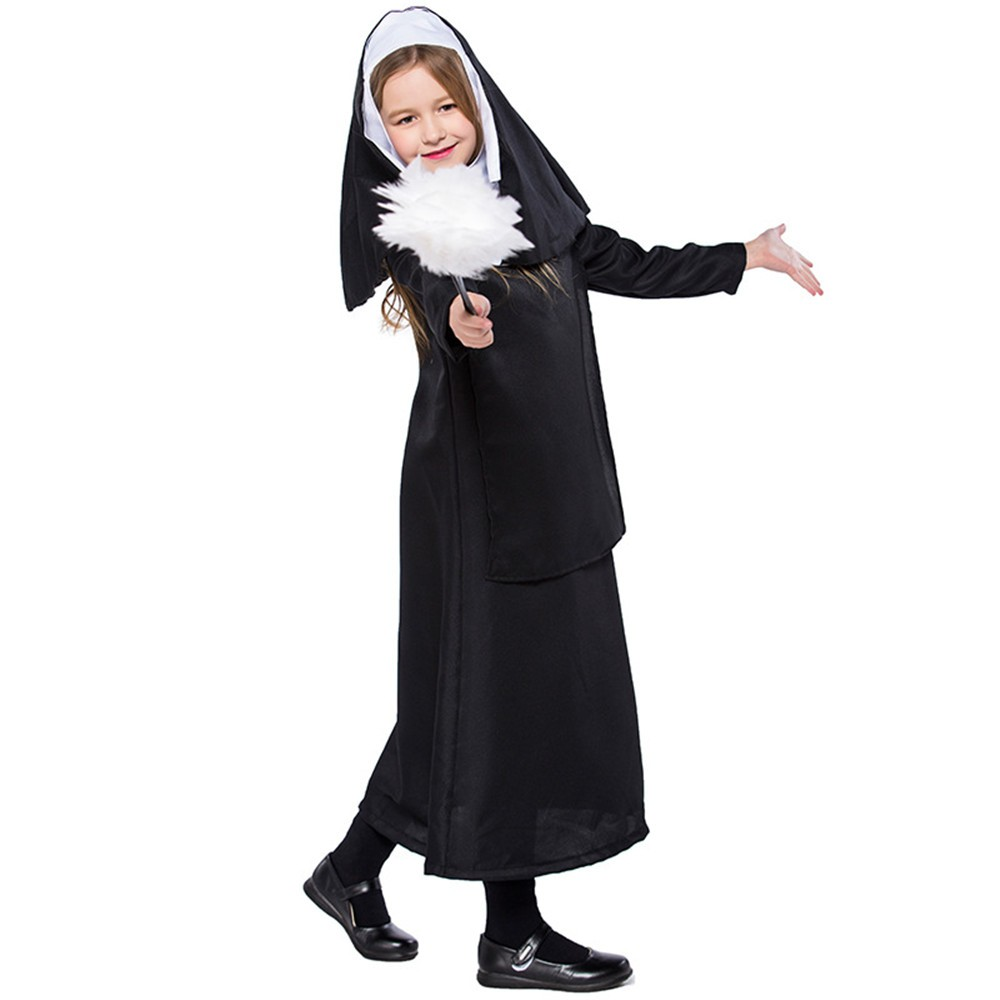 Children Nuns Cos Jesus Christ Girls Costume Christmas School Performance Halloween Cosplay Costumes Outfit