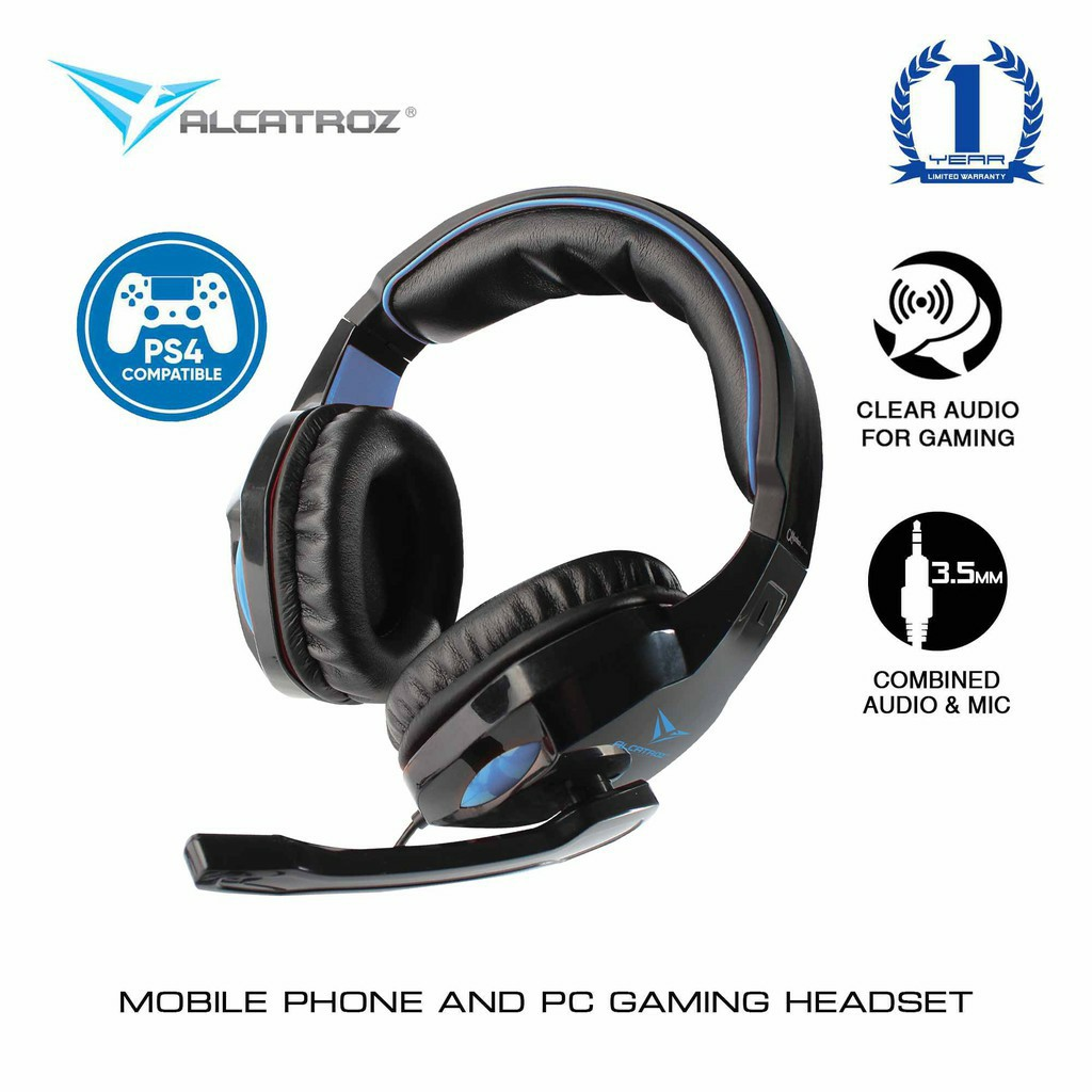 Alcatroz Alpha MG300A MG300 Stereo Gaming Headset with Microphone For Computer, Smartphone & PS4 Headphone