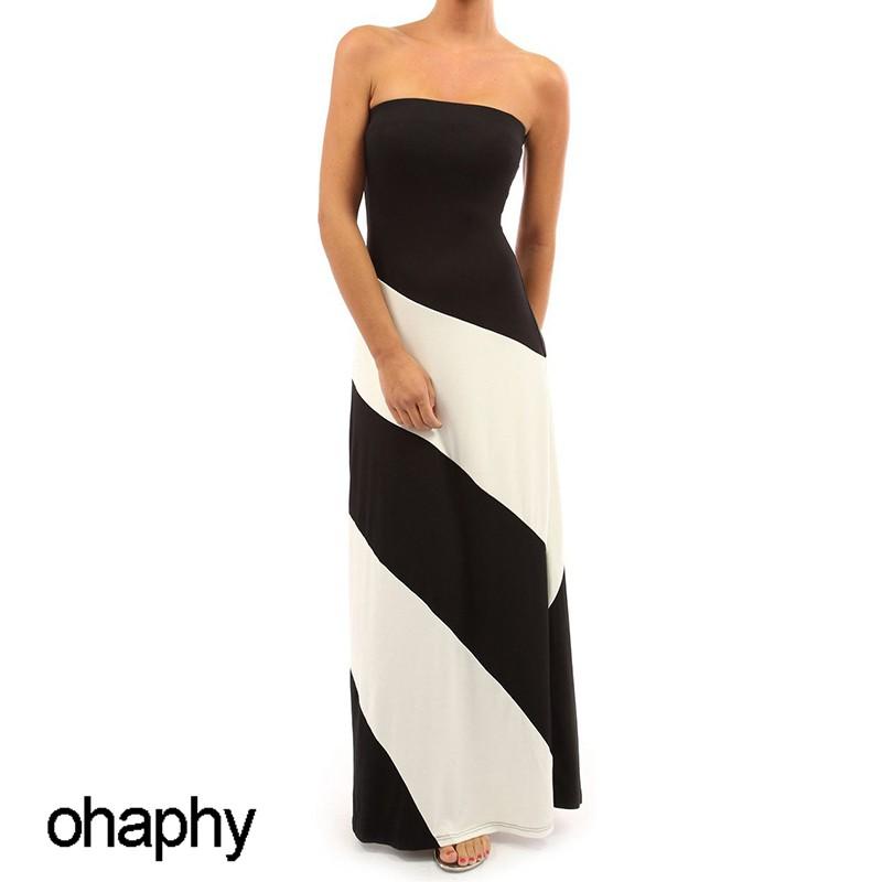771896f270 Sexy Strapless Dinner Dress 2018 Elegant Striped Maxi Dress Summer Party  Dress