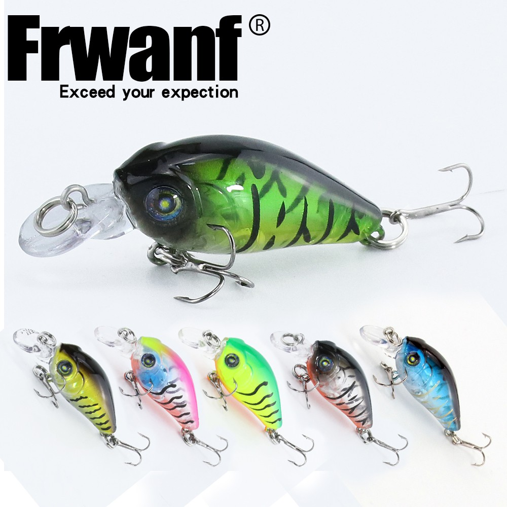 Frwanf 1pc 47mm/3.3g 12# Hook Crankbait Swimbaits ABS Bionic Sea Fishing Lure