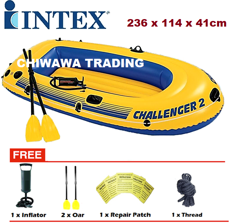 PROMOTION 68367 INTEX CHALLENGER 2 Inflatable 2 - 3 Person Swimming Fishing Boat Canoeing + Paddles + Pump / Kayak