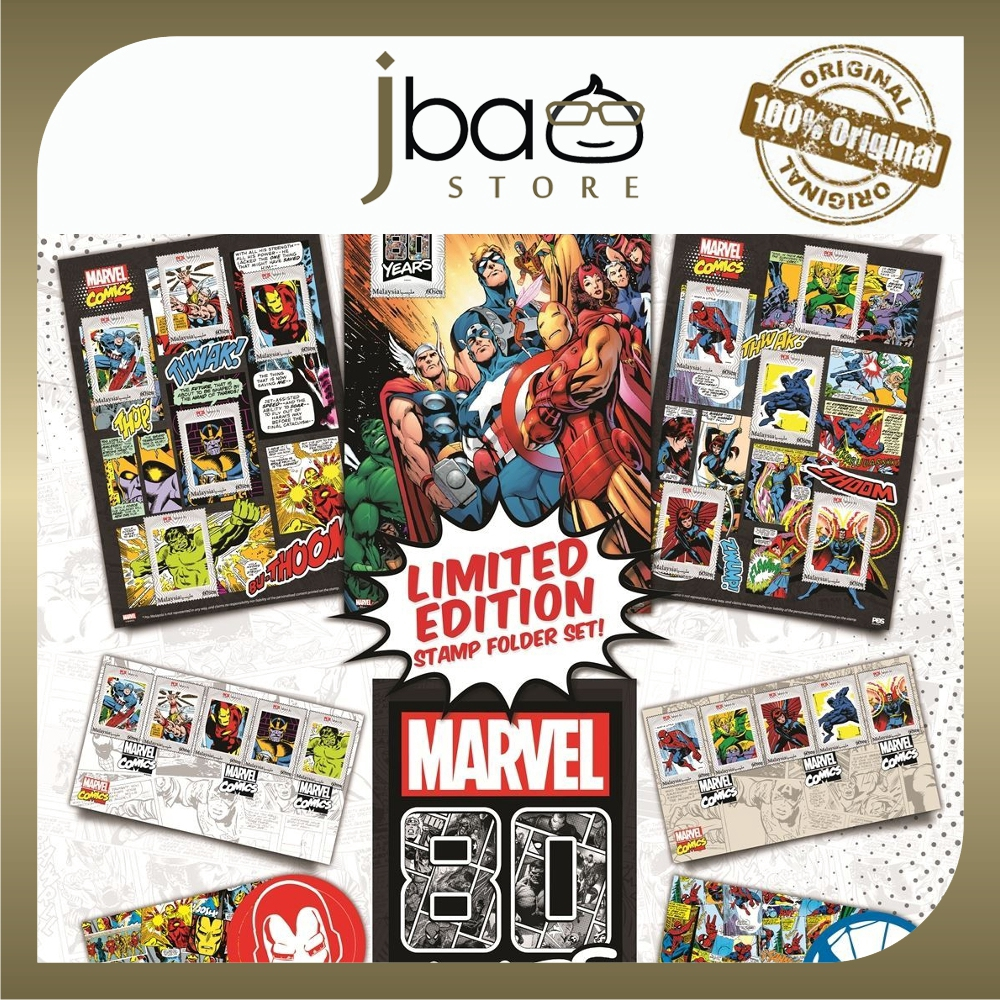 Pos Malaysia Limited Edition 80 Years Marvel Stamp Folder Set Avengers Spider-man Iron man Collector Stamps