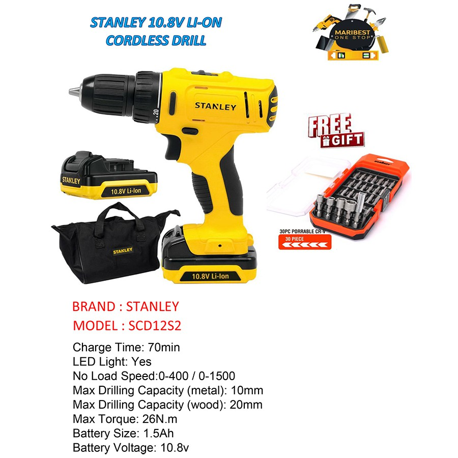 Stanley Scd12s2 108v Li Ion Cordless Drill Shopee Malaysia 18v Brushless Hammer