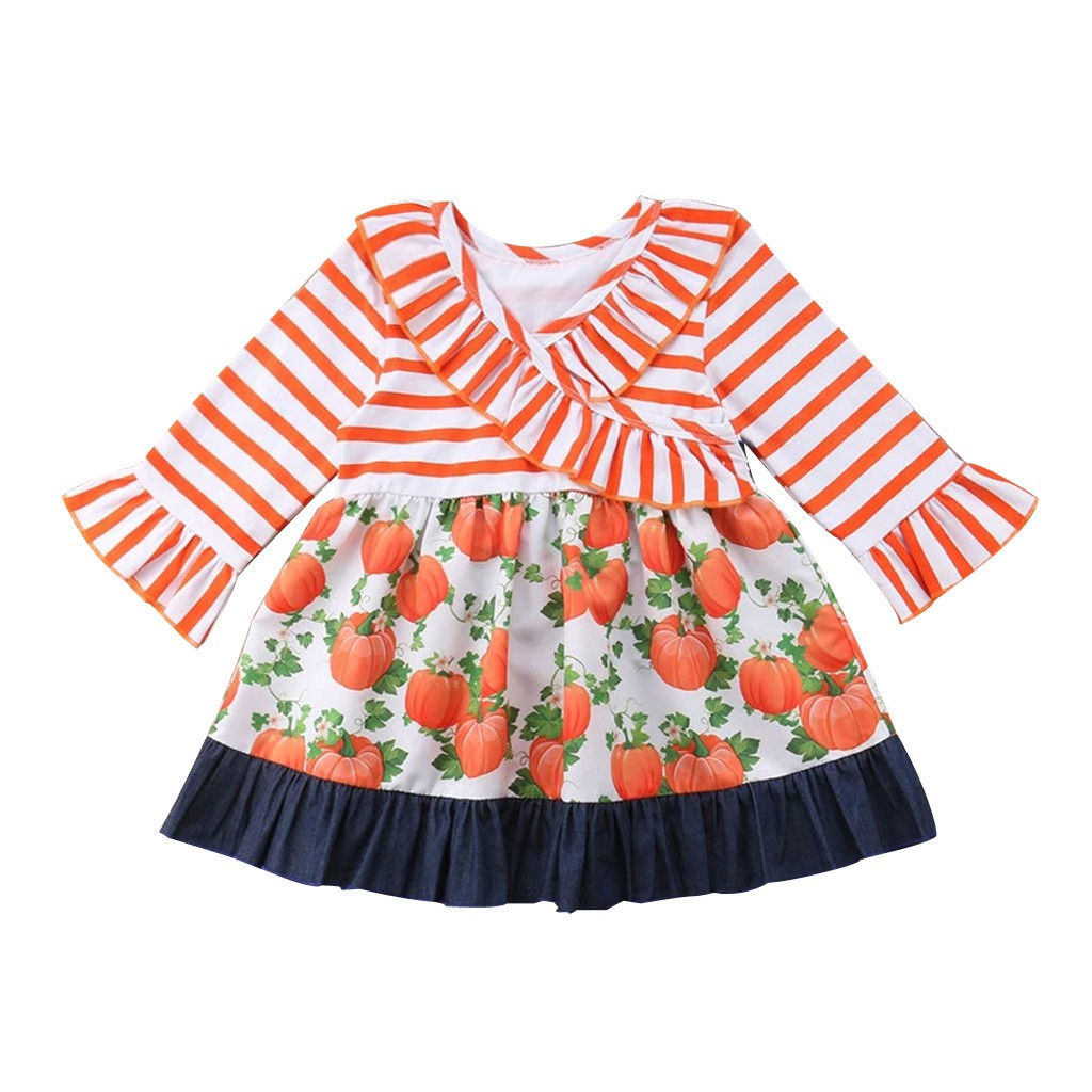 Toddler Baby Kids Girls Ruched Halloween Pumpkin Print Dress Sister Clothes Set