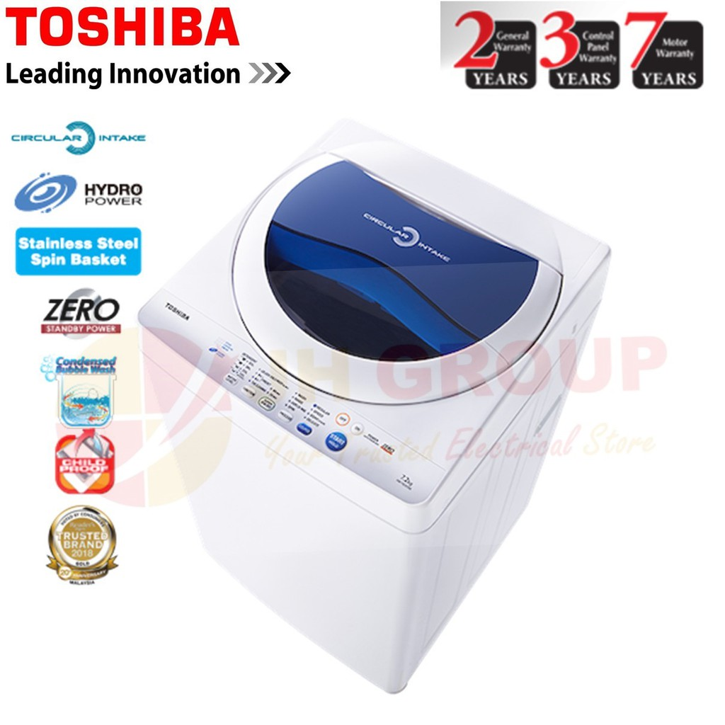 TOSHIBA AW-F820SM 7.2KG NON INVERTER FULLY AUTO TOP LOAD WASHING MACHINE WASHER *LARGER THAN SHARP ES718X