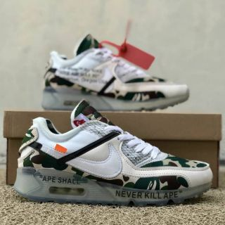 best sneakers 4437a 2cec5 Nike Airmax 90 Bape X Off White Men Shoes, Men Sneakers, Low Tops Sneakers    Shopee Malaysia